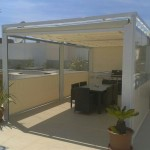 Terrace enclosure top and side awnings.